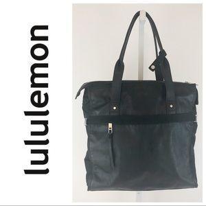 Lululemon Black Large Zip Tote Gym Messenger Bag
